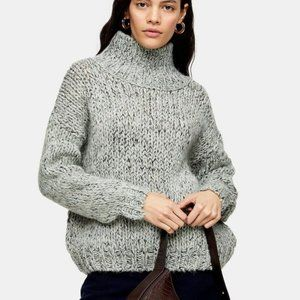 NWT Topshop Knitted Chunky Funnel Neck Sweater S
